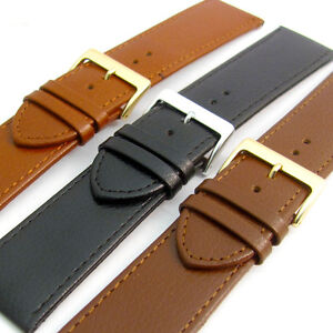 Comfortable Flexible Leather Watch Strap Band Buffalo grain Xtra Wide 24mm-30mm