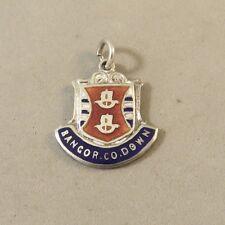 VINTAGE 925 Sterling Silver BANGOR CO DOWN Travel Shield CHARM Ireland VT56F