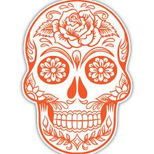 Sugar Skull orange car sticker day of the dead tattoo flower van caravan 7x10cm