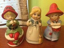Lot of 3 Vtg 1970s Jasco Figurines porcelain Bell