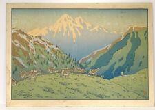 Grande lithographie couleurs Henri Rivière paysage montagne troupeau XIXè