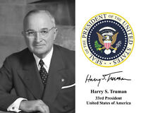 Harry Truman Presidential Seal U.S. Portrait Autograph 8 x 10 Photo Picture