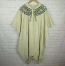 Handmade Wool Poncho Cape Sweater Fringe Trim Oatmeal Beige Mayan Print