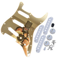 Guitar Pickguard Single Coil Pickup Covers Knobs For Fender Strat Gold Mirror
