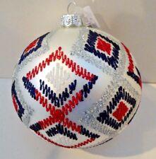 "SPARKLING RED WHITE BLUE 4"" Globe Dillard Trimsetter Glass Ornament NIB $30"