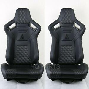 2 X TANAKA PREMIUM BLACK CARBON PVC LEATHER RECLINABLE RACING SEATS FITS HONDA