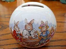 VINTAGE Royal Doulton Bunnykins Christening Ball Money Box Baby Gift Rabbits Old