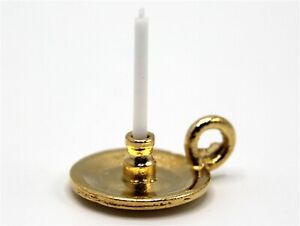 1:12 Scale Metal Chamberstick With A Fixed Candle Tumdee Dolls House Holder