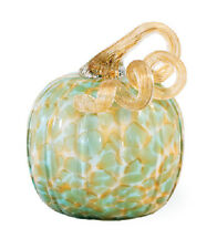 New Thanksgiving Fall Art Glass Green Gold Hand Blown Glass Pumpkin Figurine