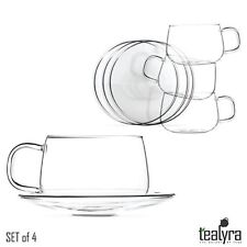 Tealyra - La Lune - 300ml - Set of 4 - Glass Tea and Coffee Cups with Saucer - C