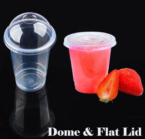 Disposable Plastic Cups Clear  Drinking Water Cup Party Dome & Flat Lid