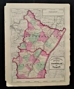 """1872 antique hand colored MAP pa WESTMORELAND and FAYETTE county 17.25""""x13.75"""""""