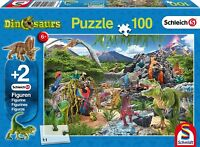 Kingdom of the Dinosaurs: Schmidt Jigsaw Puzzle 100 p'ce plus 2 dino models age
