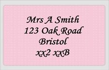 65 x Personalised Stickers Pink Polka dot Address Labels