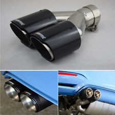 62mm Car Curved Dual-Outlet Exhaust Trim Muffler Tail Pipe Tips Carbon Fiber