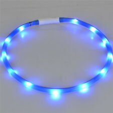 Rechargeable USB Waterproof LED Flashing Light Safety Pet Dog Collar BLUE -35 CM
