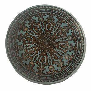 "Copper Blue Mandala Moroccan 8"" Plate Decorative Display Bohemian Style"