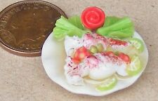 1:12 Small Hand Made Cooked Squid On 2.5cm Ceramic Plate Dolls House Miniature t