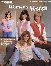 Leisure Arts 295 Women's Vests - 10 Designs to Knit & Crochet 1984 Leaflet