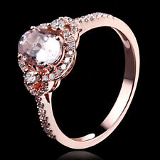1.04CT Oval Genuine Morganite Natural Diamonds Wedding 14K Rose Gold Ladys Ring