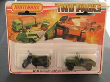 MINT Matchbox TP11 Two Pack Military Honda Motorcycle 18 Army Jeep 38 Olive MOC