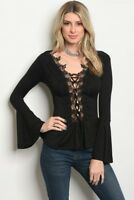 Women Black Stretch Slim Peplum Top Blouse Shirt Plunge Crochet Bell Sleeve Cute