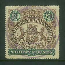 RHODESIA - 1897 £30 Large arms Revenue (Perf 15) ... VERY FINE used (EM783)