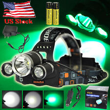 BORUiT 13000LM XML T6+2R5 Green 3X LED Headlamp Head Light Torch 18650+Charger