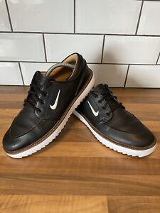 NIKE STEFAN JANOSKI G TOUR Mens UK 9 Black White Leather Golf Shoes BV8070-001
