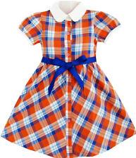Girls Dress White Collar Orange Blue Plaid Checks School Uniform Age 4-10 Years