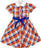 Girls Dress White Collar Orange Blue Plaid Checks School Uniform Kids Size 4-10