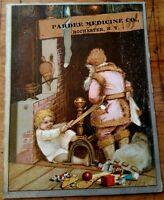 Victorian Trade Card Pink Suit Santa Claus Pardee Medicine Co. Rochester, N.Y.