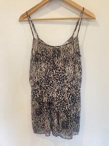 Animal print romper size 10 sheer adjustable straps hot options short shorts