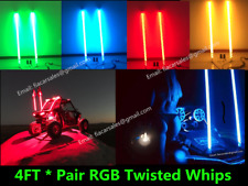Pair 4FT Brightest RGB Color Change Spiral Wrapped ATV UTV RZR LED Whips Lights