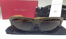$296 New Authentic Salvatore Ferragamo Man Sunglasses Wood Dark Green Brown Gray