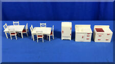RENWAL PLASTIC FURNITURE KITCHEN TABLES 8 CHAIRS STOVE OVEN SINK REFRIGERATOR