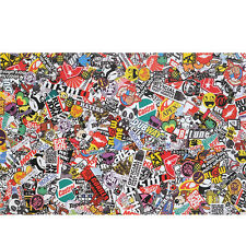 "30""x20"" PVC Sticker Bomb Graffiti Scrawl Wrap Sheet For Auto Motor Laptop JDM"