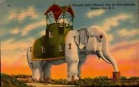 LINEN POSTCARD- ELEPHANT HOTEL, MARGATE CITY LANDMARK, ATLANTIC CITY NJ BK25