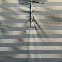 Men Nike 2XL Golf Dri Fit Tour Performance Blue Stripe Golf Polo Shirt Size 2XL