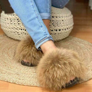 2020 INS Hot Women Fluffy Real Fox/Raccoon Fur Slides Slipper Flat Shoes Sandal