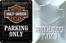 Harley Davidson Embossed Metal Sign - Only Parking 20 x 15 cm