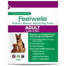 6 X Feelwells Probiotic Natural Healthy Adult Dog Treats Lamb & Rice 200g