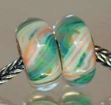 Mint Grün Lachs Orange 925 Sterling Silber Bead Beads Murano Glas Lampwork