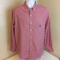 Chaps Mens Shirt Red White Check Gingham Plaid Long Sleeve Large Free Shipping!