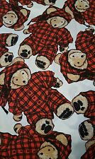 Vintage Joe Boxer Teddy Bears in red pajamas Fabric Material 2 Yards