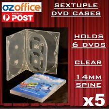 5 X Premium Sextuple Clear DVD Case Holds 6 Disc Six DVD Cover 14mm Pivot Tray