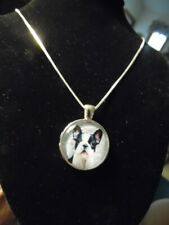 """Boston Terrier Dog cabochon pendant on 24"""" Sterling Silver chain necklace."""
