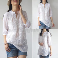 Womens Floral Embroidered Tops Button Down Summer Short Sleeve T-Shirt Blouse US