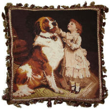 """18"""" x 18"""" Handmade Wool Needlepoint Dog and Girl Pillow with Brown Tassels"""