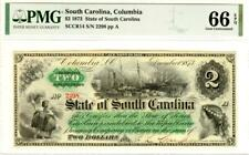 $2 1873 State Of South Carolina, Columbia PMG 66 EPQ GEM UNCIRCULATED-VERY RARE!